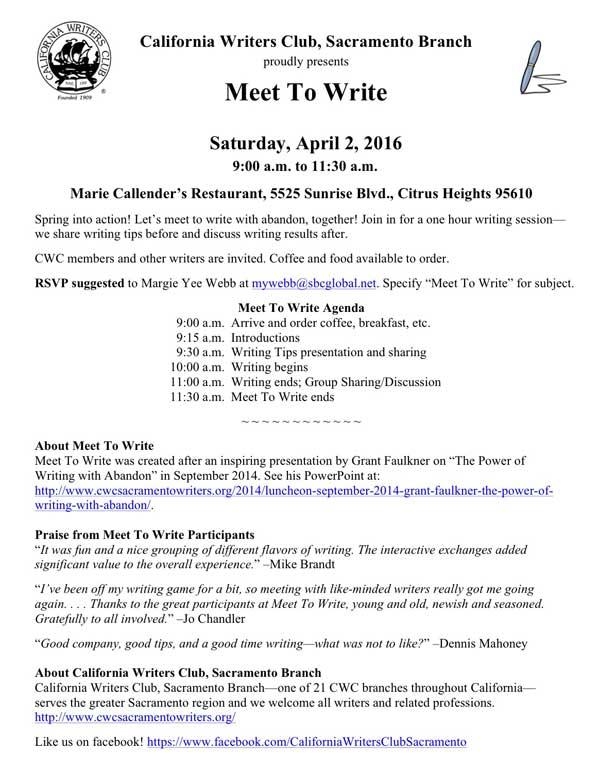 CWC Sacramento Meet To Write